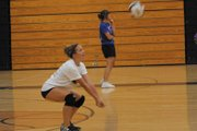 Moffat County High School incoming sophomore Lauren Samuelson prepares to bump the ball Tuesday during a volleyball skills camp at MCHS. The camp, led by MCHS graduated April Sanchez, focused on passing and ball control.