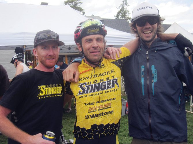 Mountain bikers, from left, Nate Bird, Dax Massey and Nate Miller race to the top spot in the team division at last weekend's Breckenridge 100.