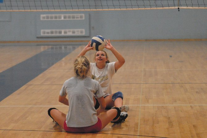 The Moffat County High School volleyball team aren't sitting down this week while participating in drills like the one pictured here. The team is putting the skills they have picked up during those drills to use at its team camp Thursday through Saturday at the University of Northern Colorado. More than 150 high school teams will be participating.