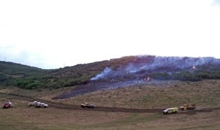 Craig Fire/Rescue firefighters responded Saturday to the Knez Wildfire 10 miles south of Craig. A lightning strike ignited the blaze Friday, burning two acres of private property. The fire flared again Saturday afternoon burning two more acres.