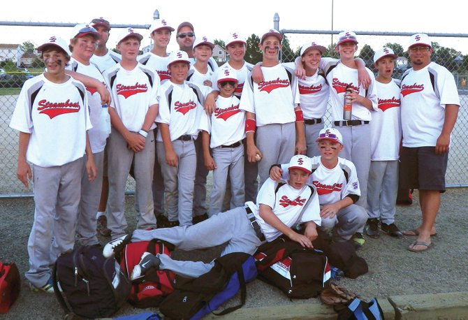 Members of Steamboat's 13- to 15-year-old Little League team defeated Grand Mesa, 16-15, for third place at last week's state tournament. Back row: manager Eric Conner, Michael Boyle, coach Scott Hansen, Channing Conner and Charlie Harrington. Middle row: Brenden Selby, Tucker Limberg, Jordan Gorr, Nick Pagliaro, Colton Pasternak, Matthew Hansen, John Zalesky, Andrew McCawley, Everett Simonsen and coach Eric Simonsen. Front row: Bryce Sullivan and David Cropper.