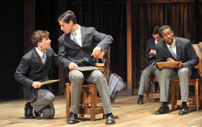 """Joe Hill, left, and Adam Maggio share a scene in a run-through for """"Spring Awakening"""" on Wednesday at the Perry-Mansfield Performing Arts School and Camp. The school will present the Tony Award-winning musical at 8 p.m. Thursday, Friday and Saturday. Tickets are available for $25."""