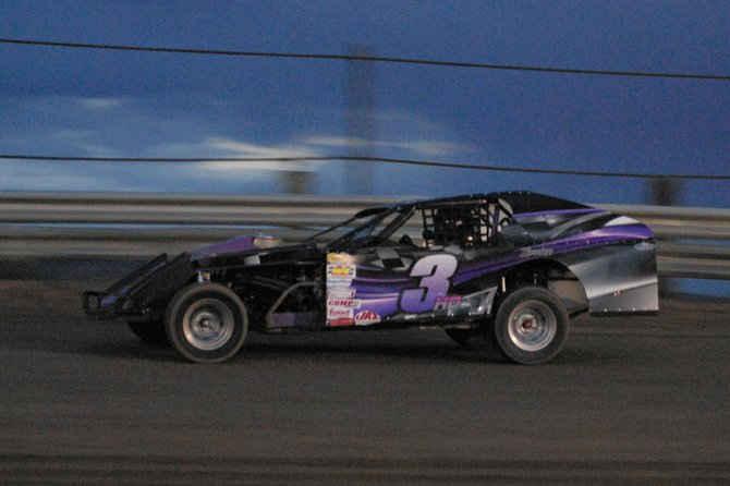 HD Craig has been a regular at Thunder Ridge Motorsports Park this summer. He won the modified stock car race Saturday night in his car, No. 3HD.