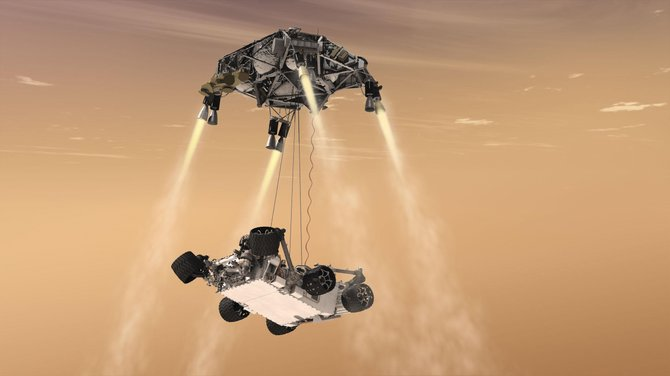 "When NASA's Curiosity rover arrives at Mars on Monday, a rocket-powered ""sky crane"" will attempt to lower the 1-ton rover to the surface on a tether during what NASA calls ""seven minutes of terror."""