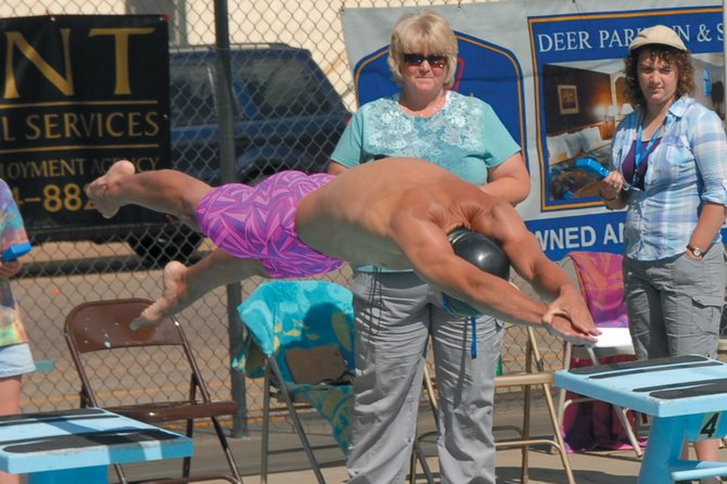 Craig Sea Sharks swimmer Matt Hulstine takes off the blocks at the Craig ABC Swim Meet earlier in July. Hulstine swam at the USA Swimming Speedo Champions Series in Gresham, Ore., last week, and is a half-second away from qualifying for the USA Swimming Junior Nationals.