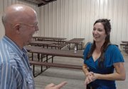 Tisha Casida, right, an Independent candidate for Colorado's Third Congressional District, chats with Craig resident Ken Wergin on Thursday night at a Bears Ears Tea Party Patriots barbecue at the Moffat County Fairgrounds. Casida told more than 30 local residents in attendance there is nothing the federal government is doing that state and county governments couldn't regulate for themselves.