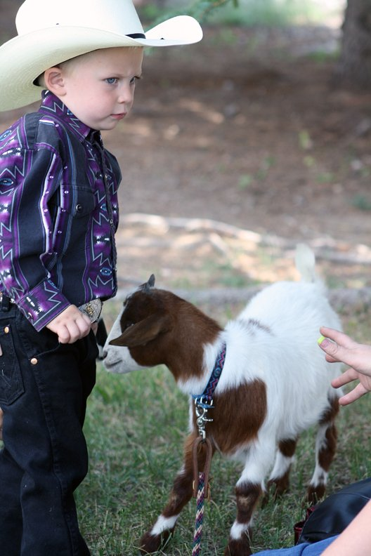 Tristen Counts, a participant in Saturday's cowboy baby contest, stands with his myotonic, or fainting, goat Coco at the Moffat County Fairgrounds. The cowboy baby contest was part of a full Saturday slate of activities during the final weekend of the 2012 Moffat County Fair.