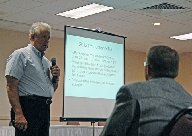 "Stuart Sanderson, president of the Colorado Mining Association, kicks off a series of presentations Tuesday at the Colorado Coal & Power Generation in Craig. Sanderson said the state of coal in 2012 looks good in the world markets despite President Barack Obama and the Environmental Protection Agency's ""war on coal"" in the U.S."