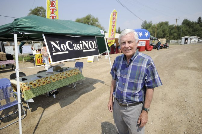 Steamboat Springs resident Bill Cousins has helped form the No Casino group that is opposing plans for a casino near Yampa Valley Regional Airport. The group has a booth set up this week at the Routt County Fair.