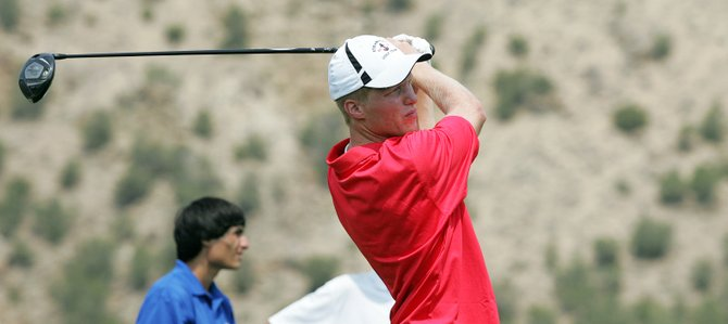 Steamboat Springs' Sam Samlowski tees off at Friday's Rifle Invitational boys golf tournament.