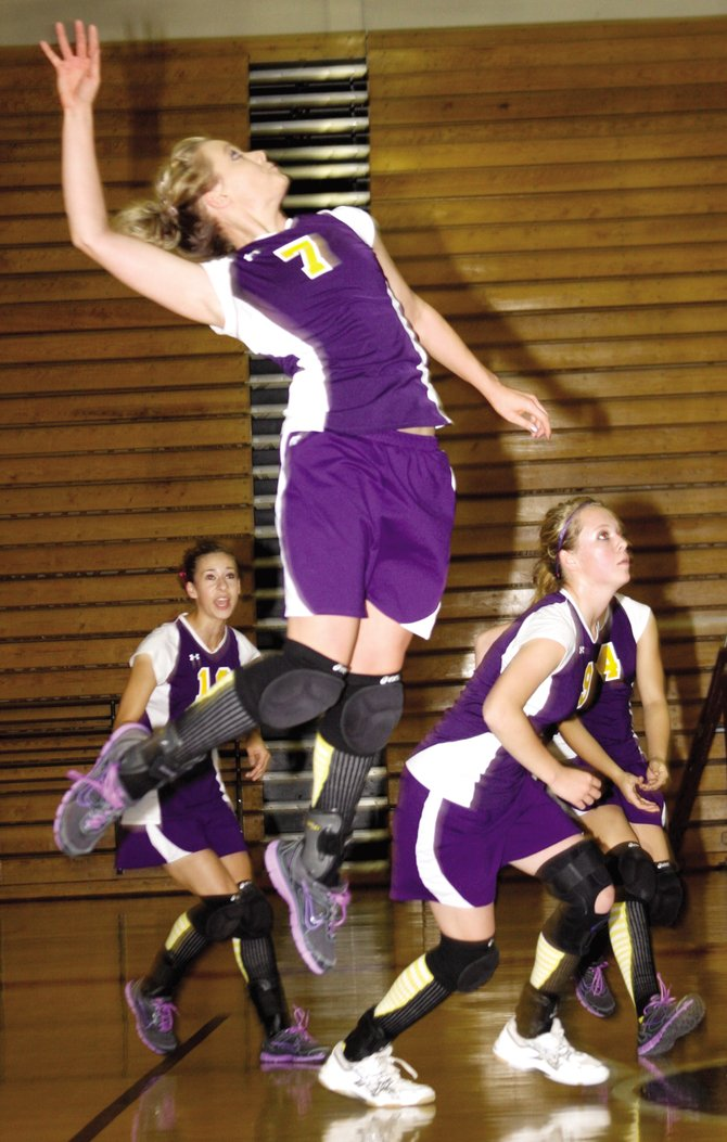 Taylor Kaisler, a Little Snake River Valley School incoming seniors, goes up for a hit in a game last season. The LSRV volleyball team's season begins Aug. 24 with a tournament in Saratoga, Wyo.