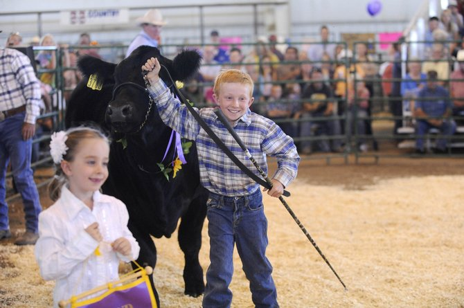 Emmitt Meyring shows his steer during Saturday's Junior Livestock Sale at the Routt County Fairgrounds. The steer was purchased by the Round Bottom Ranch for $10,000.