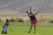 Amber Nicholson hits from the fairway of the sixth hole at Yampa Valley Golf Course Sunday. Nicholson shot a tournament-best 70 Saturday, including four-under-par on the back nine, and 77 Sunday to win the ladies' club championship at YVGC.