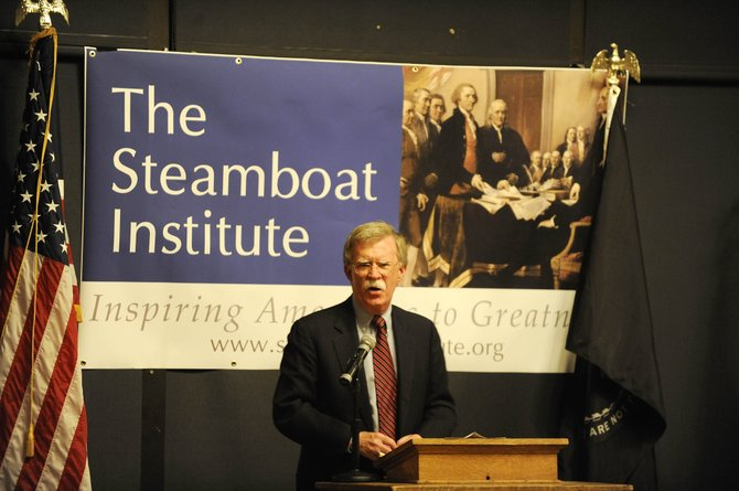John Bolton, the former U.S. ambassador to the United Nations under President George W. Bush, speaks to attendees at The Steamboat Institute's Freedom Conference on Friday night at the top of Steamboat Ski Area.