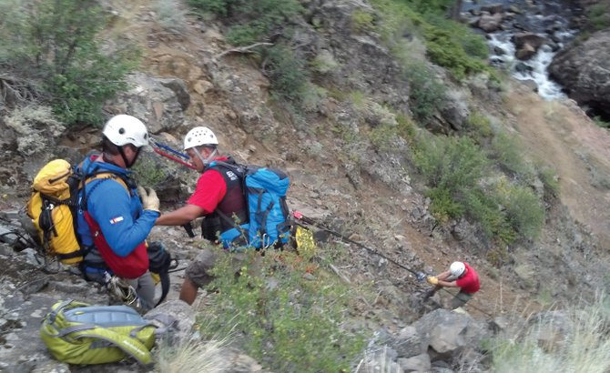 Routt County Search and Rescue members set up a 1,100-foot rope rescue system near King Solomon Falls on July 1.