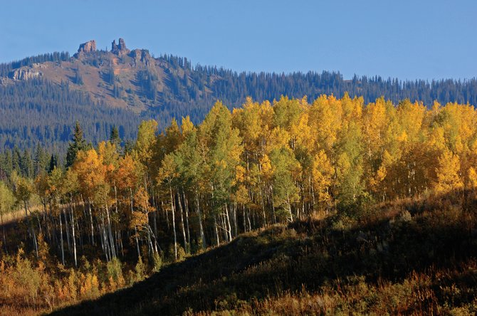 Fall colors are not yet this far along in 2012, but to the south on Fremont Pass outside Copper Mountain, stands of aspen already are peaking. This image of Rabbit Ears Pass is from 2009.