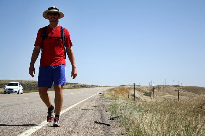 Barrett Keene, a PhD student at Cornell University walking across the country to raise awareness for orphaned and abandoned children, stopped in Craig for 3 days on his journey to San Francisco. Keene's route will take him west through Moffat County to Dinosaur and on toward Salt Lake City.