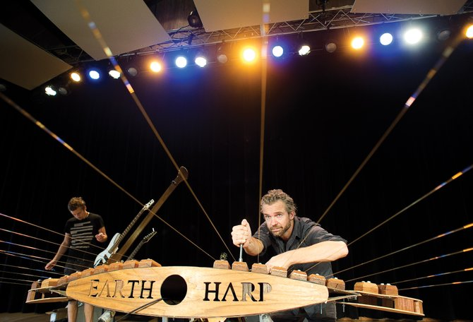 William Close tunes the Earth Harp at Strings Music Pavilion before a performance there in June. Close, who has played in Steamboat Springs twice, came in third place on NBC's America's Got Talent.