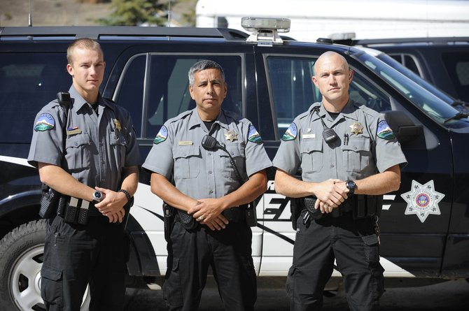 Routt County Sheriff's Office deputies, from left, Bryan Wojtkiewicz, Juan Berber and Stewart Curcio have been hired in the past year to bring the department to full staffing.