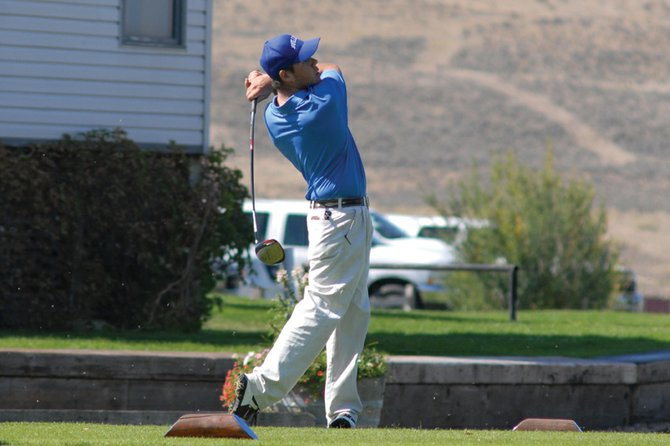 Moffat County High School golfer Tyler Jenkins tees off at a tournament earlier this season at Yampa Valley Golf Course. The boys golf team finished its season Tuesday at the 3A Western Regional at Conquistador Golf Course in Cortez.