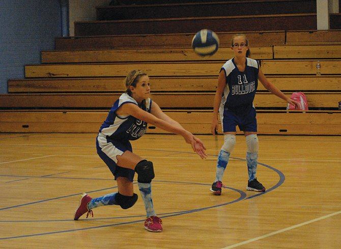 Mattie Jo Duzik bumps the ball Thursday during the Craig Middle School A team volleyball match vs. Meeker. Duzik and the A team went down in two close sets at CMS, 25-23, 25-18.