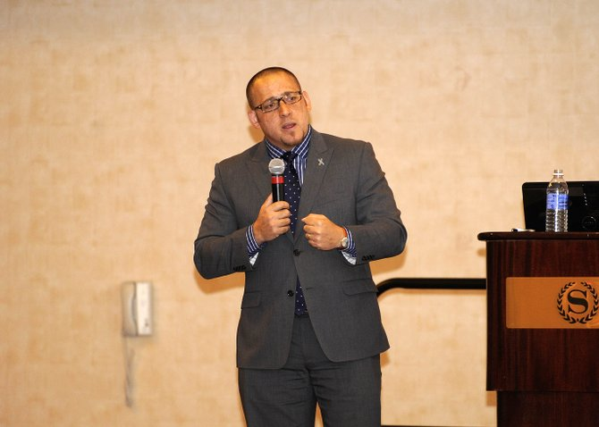 Suicide survivor Kevin Hines speaks during the Yampa Valley Wellness Conference on Saturday at Sheraton Steamboat Resort.