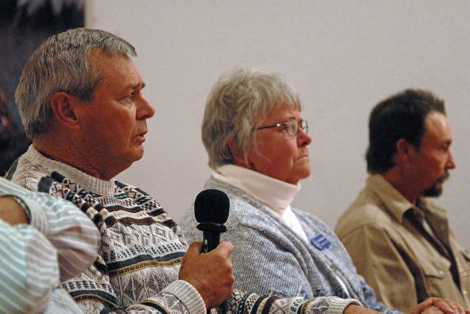 Chuck Grobe, Republican candidate for Moffat County Commission in District 2, fields questions from the audience Thursday during the latest candidate forum hosted by the Bears Ears Tea Party Patriots.