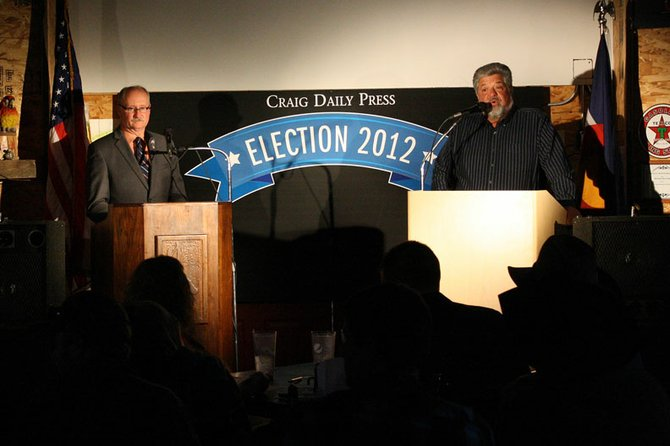 Candidates for Moffat County Commission District One John Kinkaid, left, and Dave DeRose, right, debate during Thursday's candidate debate hosted by the Craig Daily Press at J.W. Snack's.