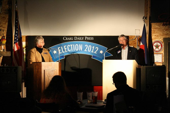 Colorado House District 57 candidates Democrat Jo Ann Baxter, left, and Republican Bob Rankin, right, debated in a candidate forum hosted by the Craig Daily Press on Thursday.