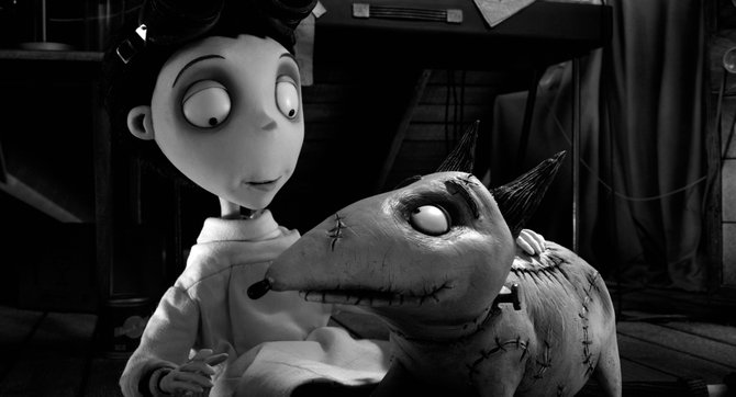 "Young scientist Victor (voice of Charlie Tahan) reunites with his newly invigorated dog Sparky in ""Frankenweenie."" The movie is an animated, expanded version of Tim Burton's 1984 short film about a boy who brings his dead dog back to life."