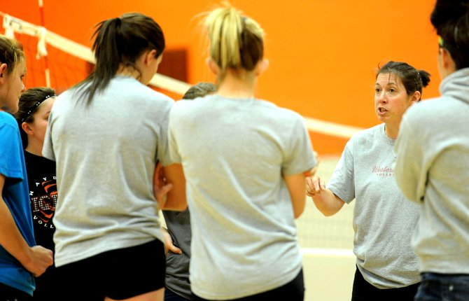 Hayden volleyball coach Christene Planansky speaks with her team after practice Monday night. The Hayden and Soroco teams head to the district tournament in Kremmling on Friday.