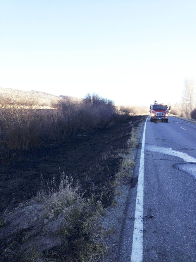 It is believed a muffler fell off a vehicle and started a wildfire Tuesday along Colo. Highway 131.