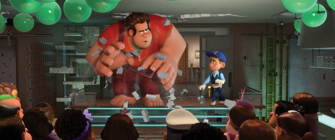 "Ralph (voice of John C. Reilly) crashes a party — literally — in ""Wreck-It Ralph."" The animated movie is about a video game character who tires of playing the villain in his game and seeks a way to be seen as a good guy."