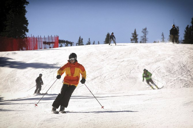 Guests enjoy freeskiing to open the U.S. Ski Team Speed Center at Copper Mountain. Thanks to 87 new HKD automatic snow guns, its a speed course that is the only one of its kind in the world this early in the season, allowing racers to reach speeds of up to 75 mph. 