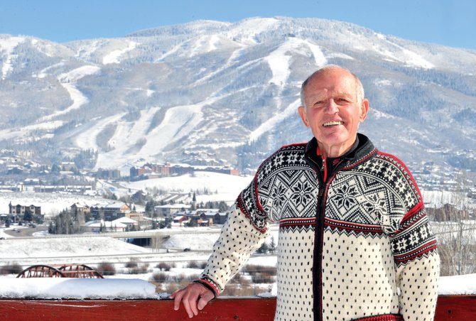 Hans Geier, former president of the Steamboat Ski Area from 1981-1990, stands on the deck of his home in Tree Haus neighborhood. Geier was elected to the U.S. Ski and Snowboard Hall of Fame.