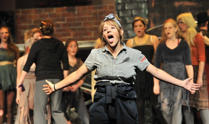 "Steamboat Springs High School senior Mary Willingham plays the part of Penelope Pennywise in the high school production of the musical, ""Urinetown."" Performances are Thursday, Friday and Saturday."