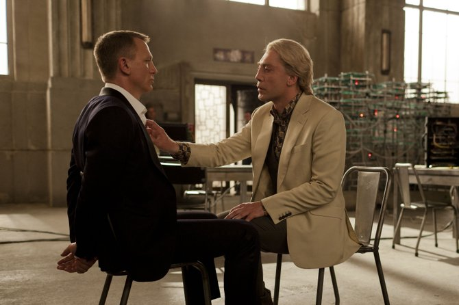 "James Bond (Daniel Craig) is interrogated by villain Raoul Silva (Javier Bardem) in ""Skyfall."" The movie is the 23rd in the James Bond series, focusing on the British secret agent protecting his boss from a vengeful former operative."