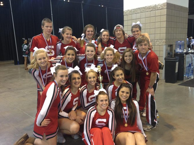 The Steamboat Springs High School cheerleading team finished third during the weekend in Denver. Pictured are, back row from left, Guerin Lewis, Kate Jankoski, Abby Burns, Kiayvah Ordrey, Connor O'Brien and Allison Williams; third row from left, Taylor Hansen, Reina Salky, Annie Martin, Reagan Mertz, Lacey Lewis and Colton Lewer; second row from left, Hanna Pagliaro, Carly Hanley, Brooke Bumgarner and Miranda Salky; and front row from left, Sydney Finkbohner and Brandi Salazar.