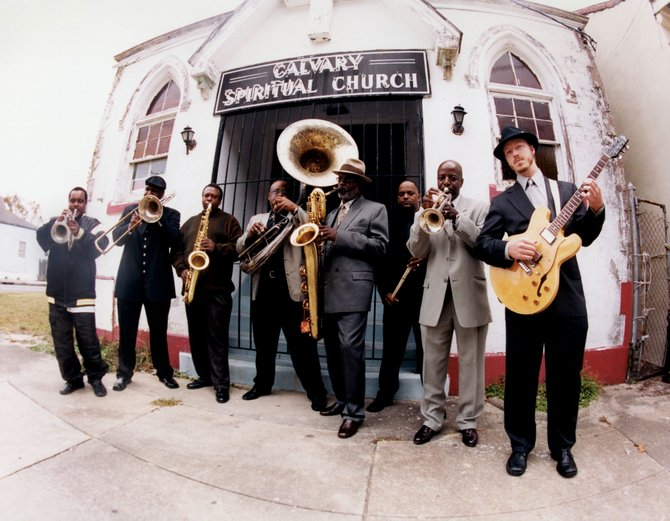 "Dirty Dozen Brass Band's blend of funk, second line and jazz music is referred to by saxophonist Roger Lewis as ""a musical gumbo."" The group plays at 2 p.m. Saturday in Gondola Square."