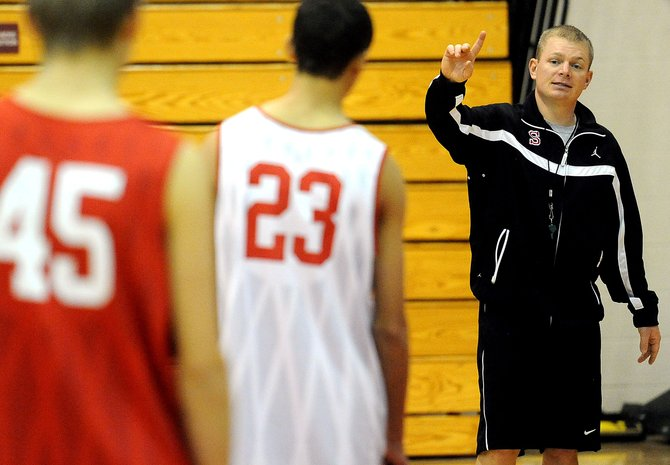Steamboat Springs High School boys basketball coach Luke DeWolfe coaches his team during practice Friday. The Sailors take to the court Saturday against Hayden in a scrimmage.