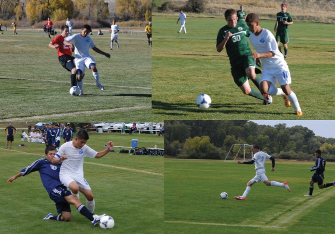 Four members of the Moffat County High School boys soccer team were given league honors for their play this season. Clockwise from top left: senior Erik Silva was Western Slope League honorable mention, senior Alan Flores was WSL first team, senior Bryant Cox was WSL first team and junior Nestor Arrellano was WSL honorable mention