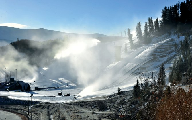 Snowmaking guns blow snow at the Howelsen Hill Ski Area. The historic downtown Steamboat Springs fixture will open for the season at 10 a.m. Saturday.