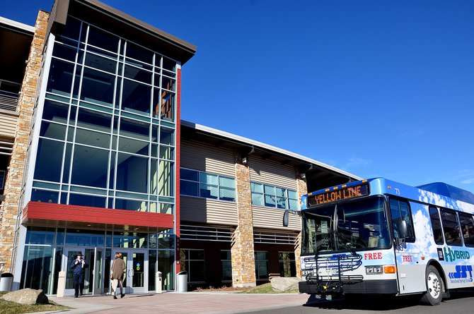A Yellow Line bus stops Tuesday at the Colorado Mountain College's Alpine Campus. The city will roll out changes to the line, including an extra stop each hour at the college, on Dec. 9.