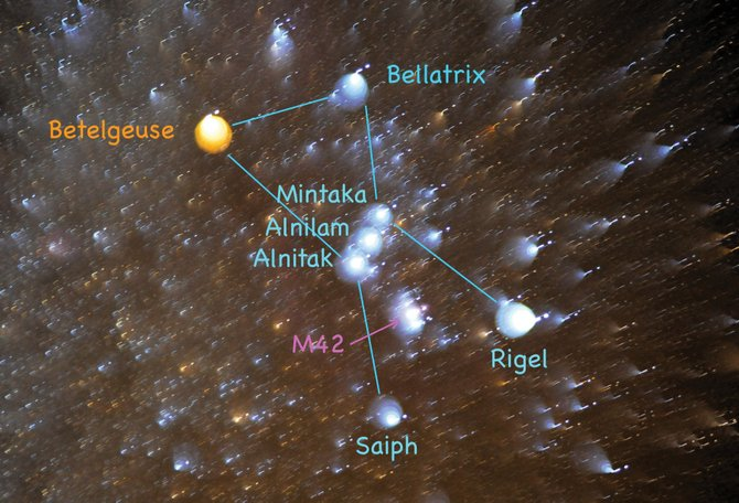 The colors or Orion are subtle to the unaided eye, but binoculars or a small telescope will enhance them for you. In this image, the stars deliberately were defocused to make their true colors more prominent. Catch Orion in the southeastern sky at about 9:30 p.m. 