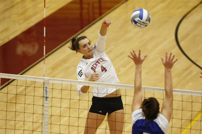 Colleen King hits a ball earlier this season for the University of Denver. King, a 2010 Steamboat graduate, recently was named First Team All Western Athletic Conference in volleyball. King led the Pioneers in kills this season as a junior. 