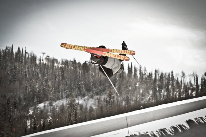 Local skier Jesse Pugh catches air last season while filming with his friends, who submitted a ski movie to the Steamboat Mountain Film Festival. 