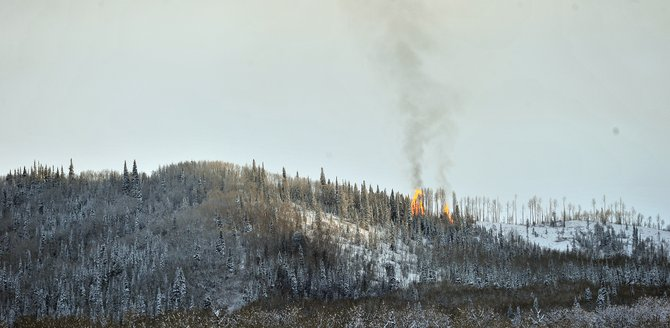 Smoke rises from a controlled burn on Emerald Mountain on Tuesday afternoon. The city of Steamboat Springs was burning slash piles of beetle-killed wood. Steamboat Springs Fire Rescue firefighters will continue to monitor the burn Wednesday.