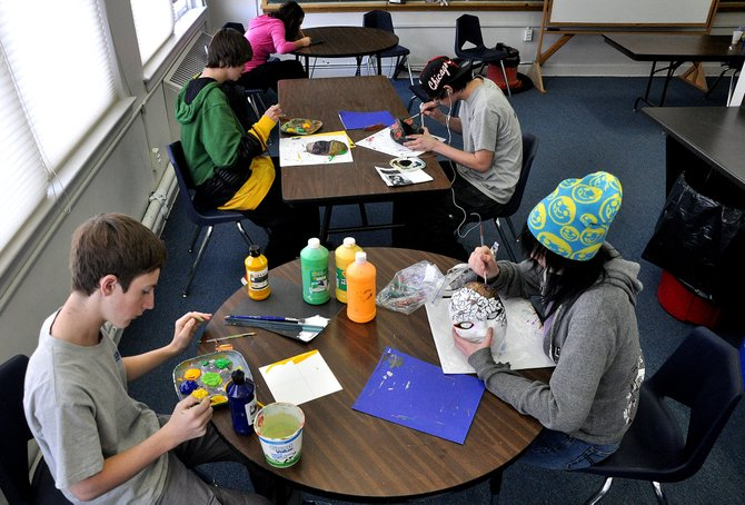 "Yampa Valley School students work Thursday on art projects. Students at the campus said a renovation project in the summer made their campus feel more like a ""legitimate"" high school campus."