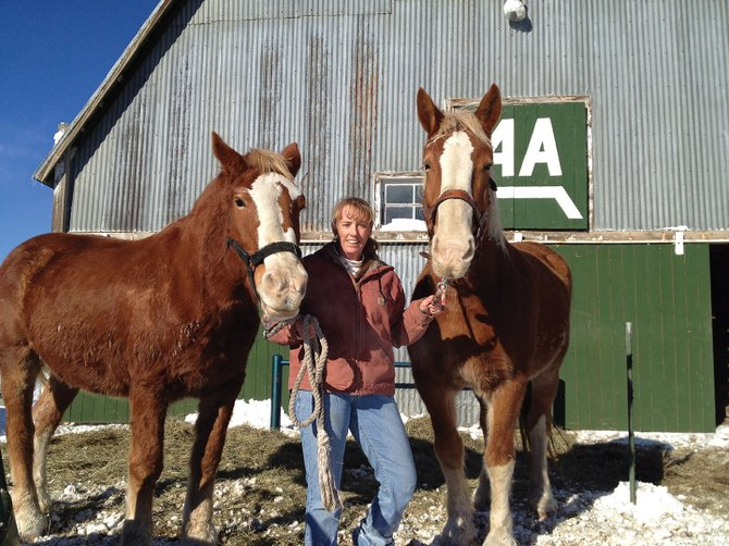 Mardi Anson stands with two of her Belgian horses, Dixie (left) and Ruby (right). Anson's horses have given wagon rides at many events for years, and represent another way in which Anson gets involved with the community in Craig.