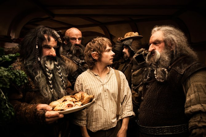 Hobbit Bilbo Baggins (Martin Freeman) finds his home overtaken by a group of dwarf visitors in The Hobbit: An Unexpected Journey. The movie is the first of three movies framed as an adaptation of J.R.R. Tolkiens famed fantasy novel and a prequel to The Lord of the Rings.